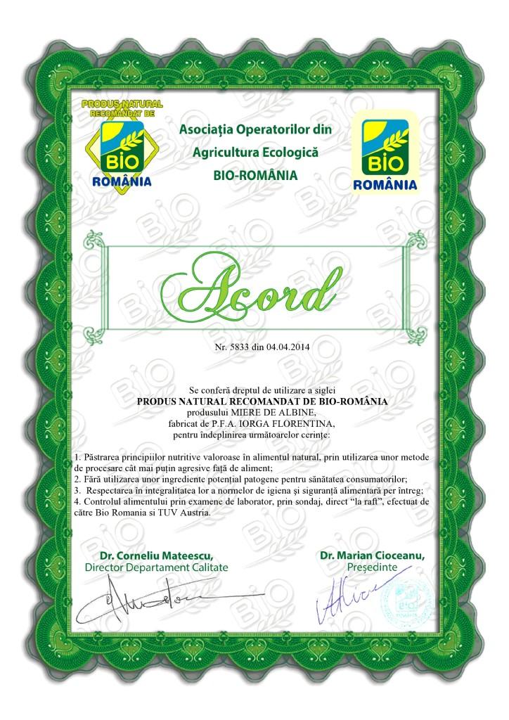 Acord miere de albine Bio Romania