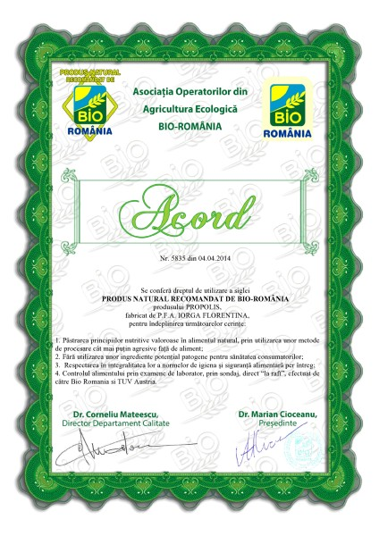 Acord propolis Bio Romania